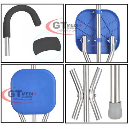 GT MEDIT GERMANY Tripod Seat Cane Foldable Crutch Walking Aid Mobility Stick + Seat