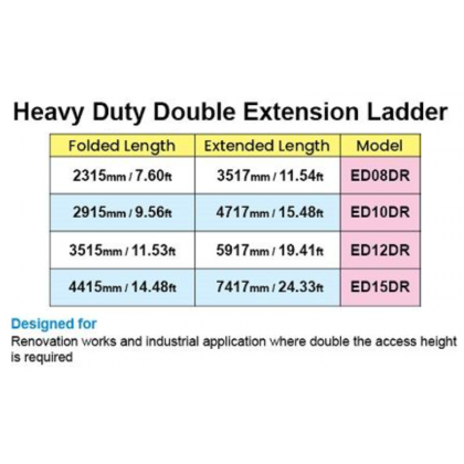 ORIGINAL Everlas ED15 Double Extension Ladder