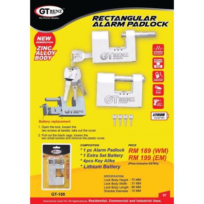 GT Benz Rectangular Alarm Padlock (GT-100)